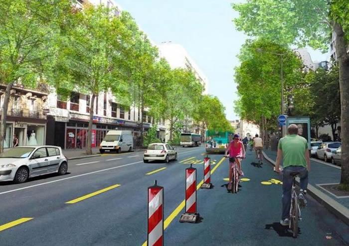 Pop-up bikke lane in Paris