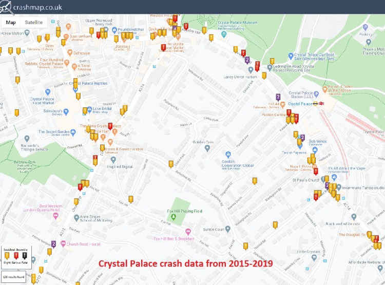 crashmap.co.uk Crystal Palace crash data from 2015-2019